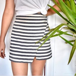 J. Crew Navy Blue/Gray & White Striped Skirt!